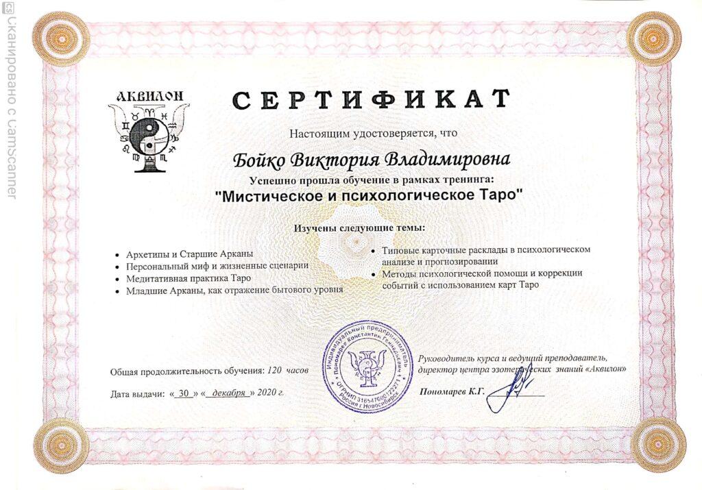Сертификат ТАРО 30.12.2020