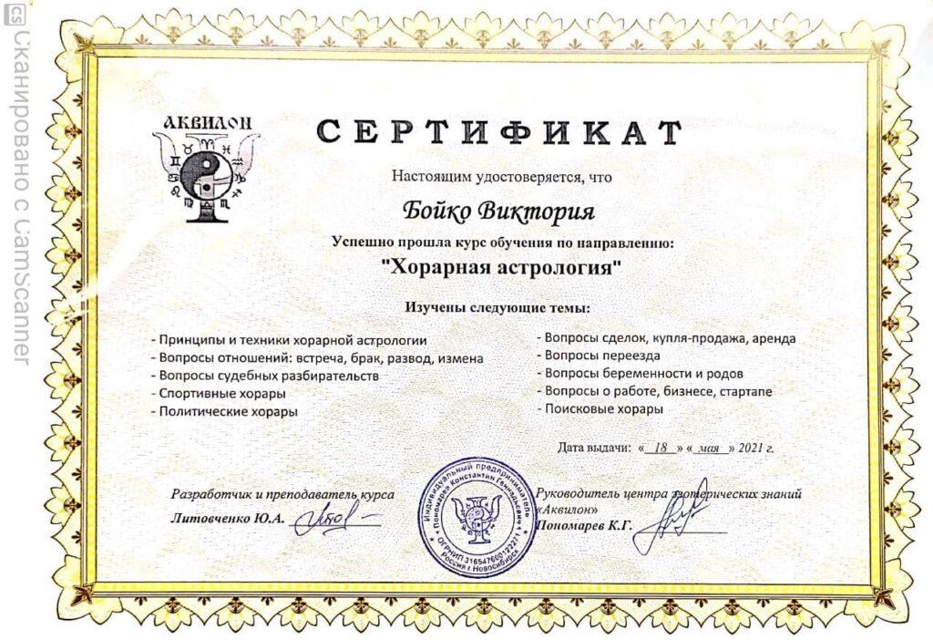 """Сертификат """"Хорарная астрология"""" 18.05.2021"""
